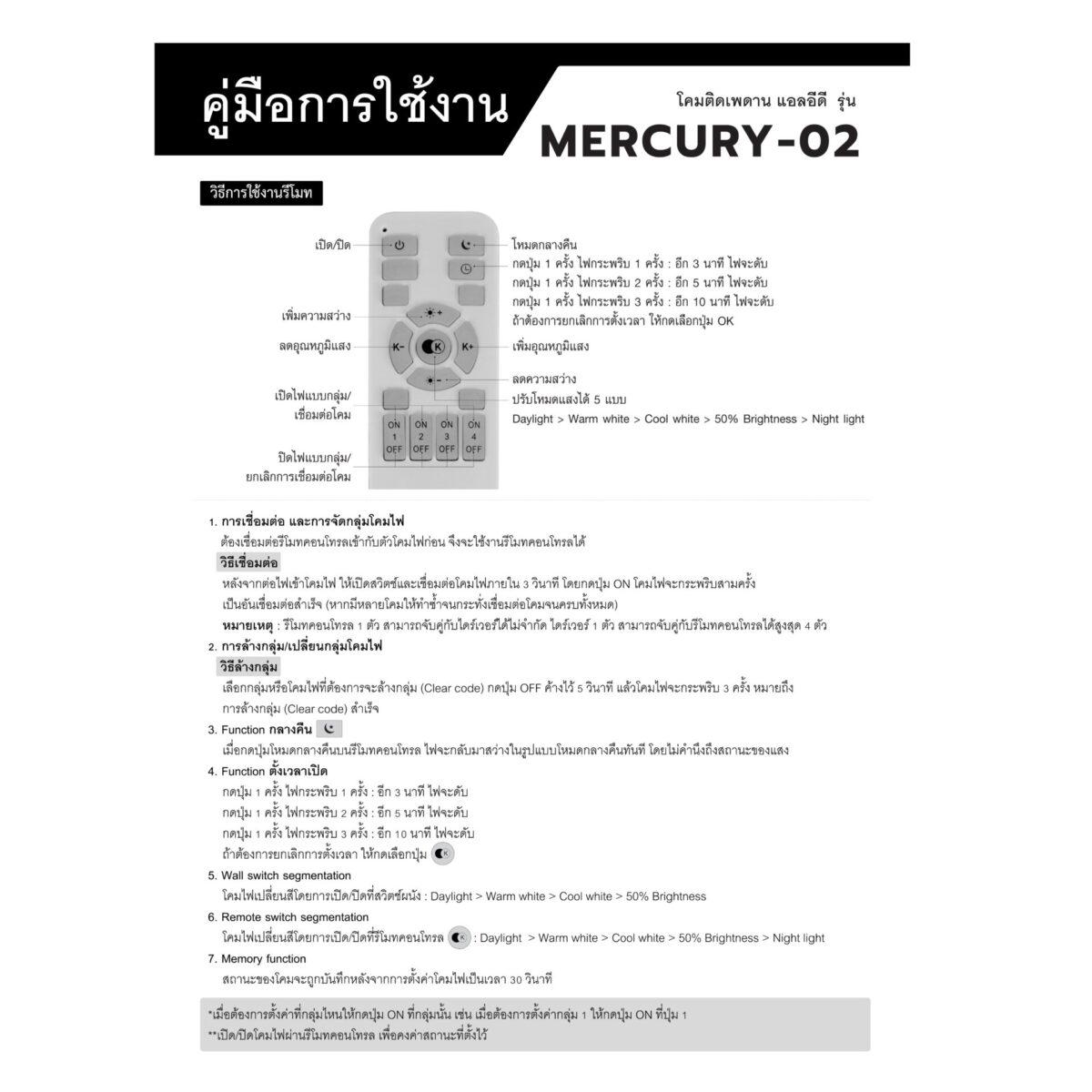 โคมไฟติดลอย LED รุ่น Mercury-02
