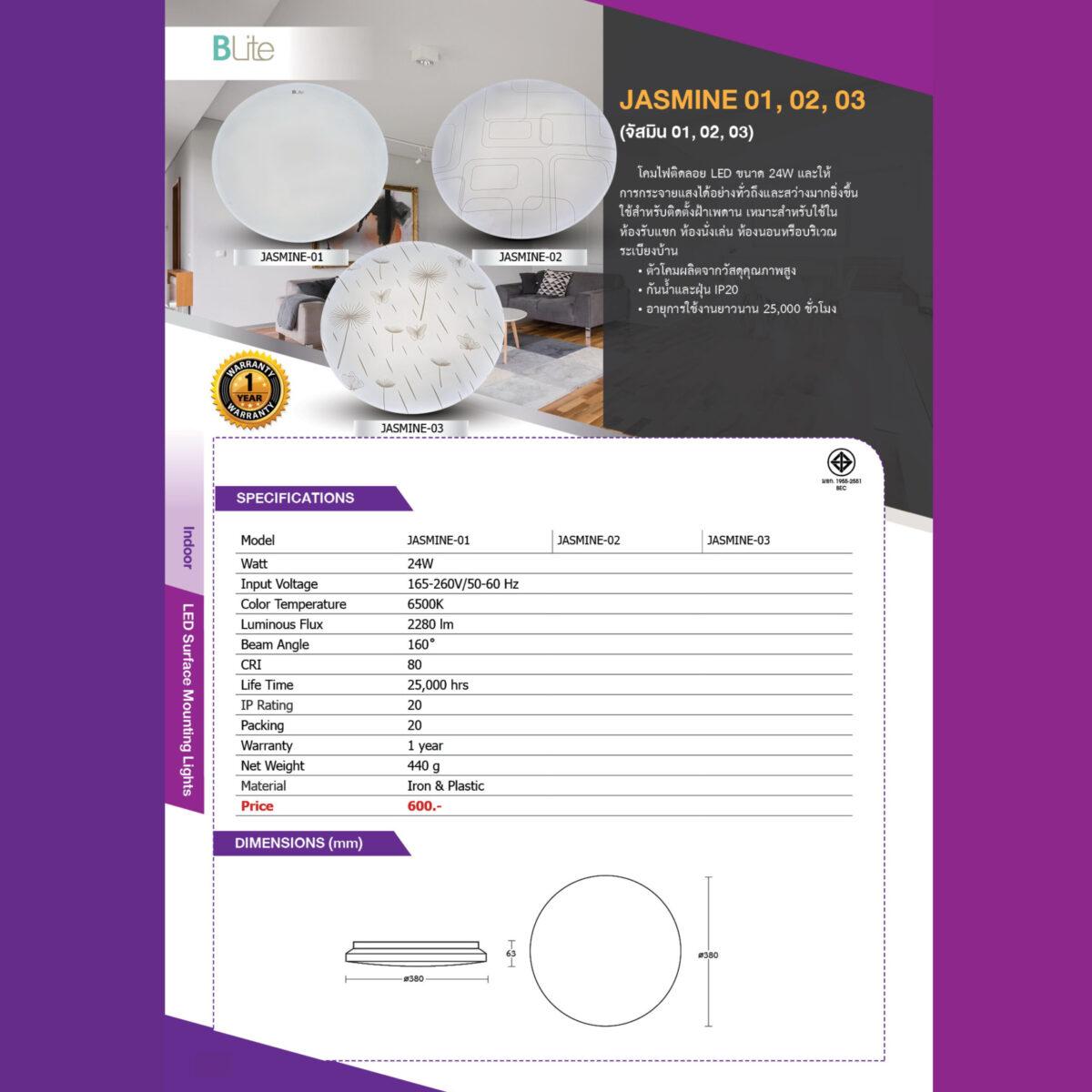 โคมไฟติดลอย LED รุ่น Jasmine-06